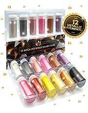 Pigmento perlado de mica en polvo: paquete de 12 [Juego de regalos con colores increíbles] - Juego de colores metálicos - Hermosa fabricación de jabón de mica, slime, bombas de baño, maquillaje, uñas