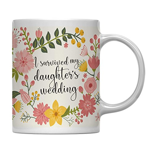 Andaz Press 11oz. Wedding Party Coffee Mug Gift, Vintage Bohemian Floral Flowers, I Survived My Daughter's Wedding, 1-Pack, Bridal Shower Engagement Birthday Christmas Gift for Mother in Law