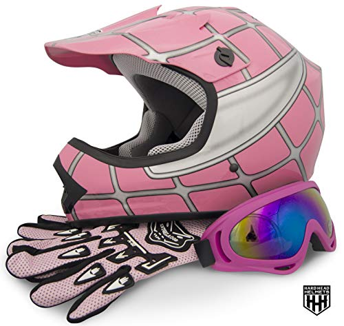 HHH - SmartDealsNow DOT Youth & Kids Helmet Combo for Dirtbike ATV Motocross MX Offroad Motorcyle Street bike Helmet with FREE Goggles and FREE Gloves (one size) (Medium, Pink Net)