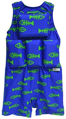 My Pool Pal Girl's or Boy's Swimwear Flotation Lifevest Swimsuit (Fish Bones, Small)