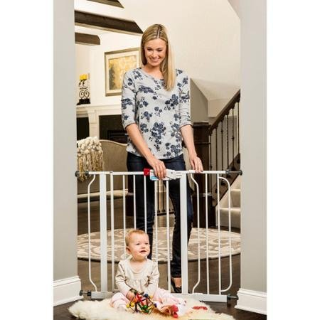 Regalo Easy Step Walk Through Baby Gate, Pressure Mount with Included Extension - Hours Open Mall Great
