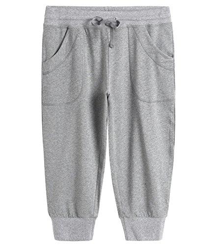 Weintee Women's Capri Joggers Jersey Sweatpants (Large, Light Gray) ()