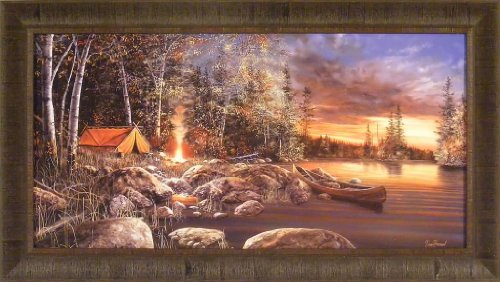 Twilight Fire by Jim Hansel 21x37 Tent Canoe Camping Lake Sunset Framed Art Print Wall Décor Picture