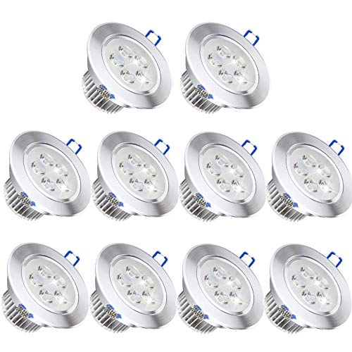 10 Pack,Pocketman 110V 5W Dimmable LED Ceiling Light Downlight,Warm White Spotlight Lamp Recessed Lighting Fixture,with LED Driver by POCKETMAN