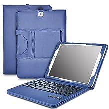 Samsung Galaxy Tab S2 9.7 Keyboard case, KuGi ® High quality Ultra-thin Detachable Bluetooth Keyboard Stand Portfolio Case / Cover+ Free stylus & OTG cable for Samsung Galaxy Tab S2 9.7 tablet. (Blue)