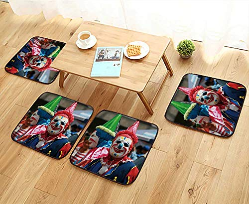 (UHOO2018 Simple Modern Chair Cushions Clowns Entertain The Crowds at a Street Festival in Quito Ecuador Reusable Water wash W27.5 x L27.5/4PCS)