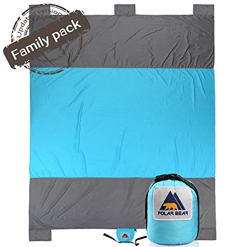 Sand Proof Compact Large Quick Drying Lightweight Durable Parachute Nylon Outdoor Beach Blanket Picnic Blanket Sand Resistant Oversized 7' x 9.5' Blue