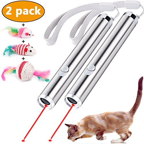RundA 5 Pieces Cat Chaser Toys, 2 in 1 Interactive Cat Catch LED Light Pointer & Flashlight Pet Cat Training Tool (2 Sets)