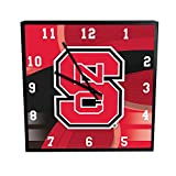 The Memory Company NCAA North Carolina State University Official Carbon Fiber Square Clock, Multicolor, One Size