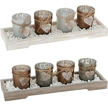 Amazon De Teelichthalter Set Teelicht Tischdeko Braun Weihnachten