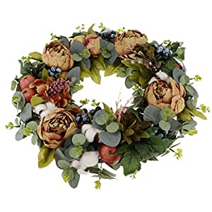 Silk Flower Arrangements SM SunniMix 40cm Simulation Rattan Peony Flower Door Wreath for Christmas Holiday Decor Ornaments