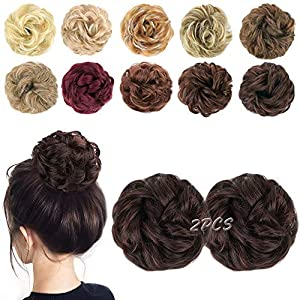 Akashkrishna Messy Hair Bun Extensions 2PCS Curly Wavy Messy Synthetic Chignon Hairpiece Scrunchie Scrunchy Updo…