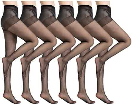 93fe441e5 MANZI 6 Pairs Women s Ultra-Soft Silky Summer Sheer Tights Pantyhose 20  Denier