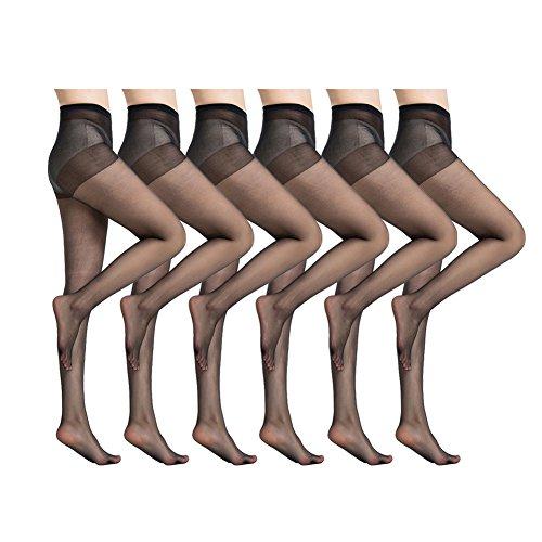 MANZI 6 Pairs Women's Ultra-Soft Silky Summer Sheer Tights Pantyhose 20 Denier