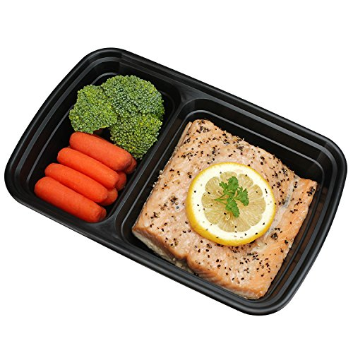 freshware meal prep containers 15 pack 2 compartment with lids food containers lunch box. Black Bedroom Furniture Sets. Home Design Ideas