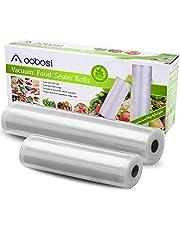 Aobosi Vacuümrollen Vacuümfolie rol voor alle folielassistenten, 2 rollen 28 x 600 cm & 20 x 600 cm Premium kwaliteit foliezakrollen voor Sous Vide BPA-vrij en LFGB toegelaten