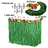 Moana Party Supplies Set-1 Pack Grass Table Skirt 9ft,24 Pcs Tropical Faux Palm Leaves,24 Pcs Hibiscus Flowers with 5Pcs Adhesive Hook & Loop for Hula, Luau, Maui, Hawaiian, Moana Themed Party