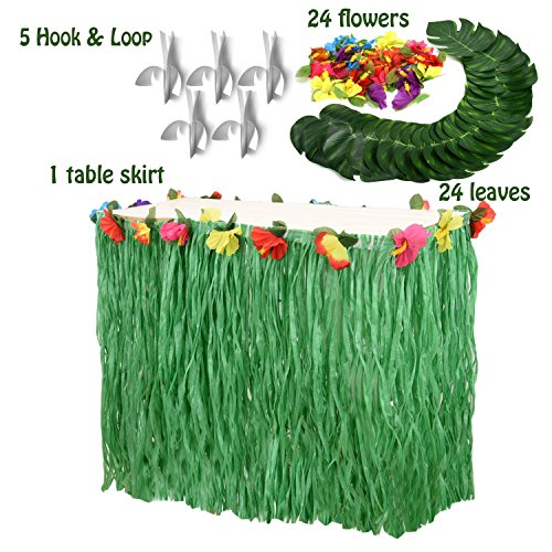 Moana Party Supplies Set-1 Pack Grass Table Skirt 9ft,24 Pcs Tropical Faux Palm Leaves,24 Pcs Hibiscus Flowers with 5Pcs Adhesive Hook & Loop for Hula, Luau, Maui, Hawaiian, Moana Themed (Paradise Tiki Bar)