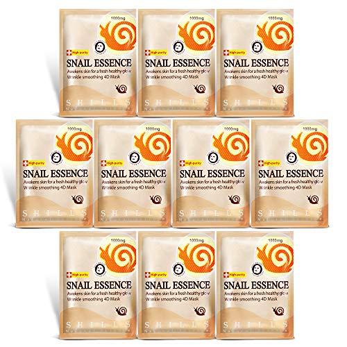 SHILLS Snail Mask, Hydrating Face Mask, Anti Wrinkle Serum Repair Mask Sheet Brightening Facial Mask 10 Piece Combo (Best Image Hydrate Face Masks)