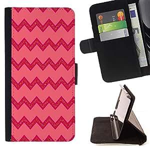 Líneas rosadas patrón zigzag- Modelo colorido cuero de la carpeta del tirón del caso cubierta piel Holster Funda protecció Para Apple iPhone 5 / iPhone 5S