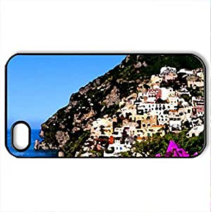 Amalfi coast - Case Cover for iPhone 4 and 4s (Watercolor style, Black) by icecream design