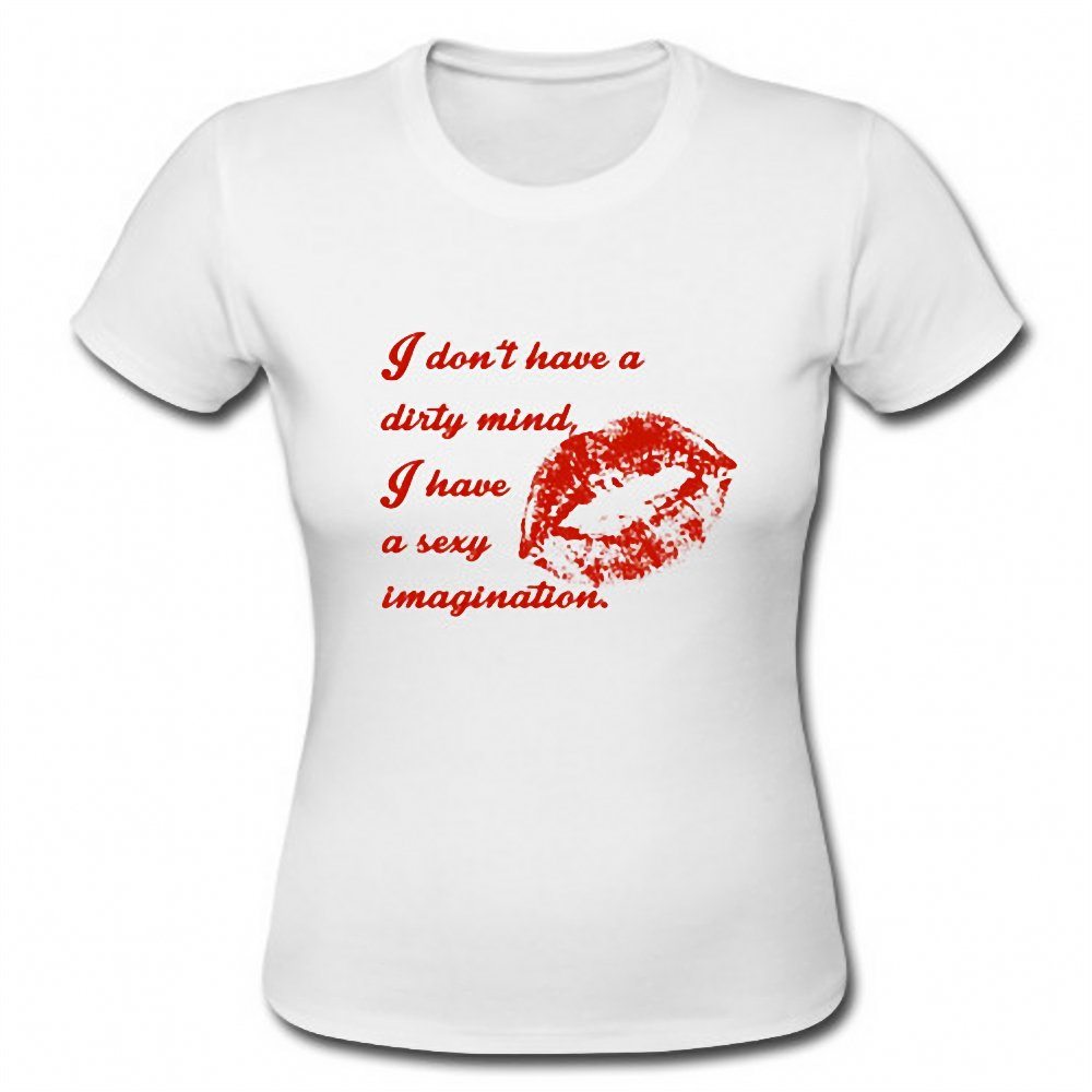 I Have A Sexy Imagination Funny Sexy Lip Funny Ladies Short Sleeve T-Shirt