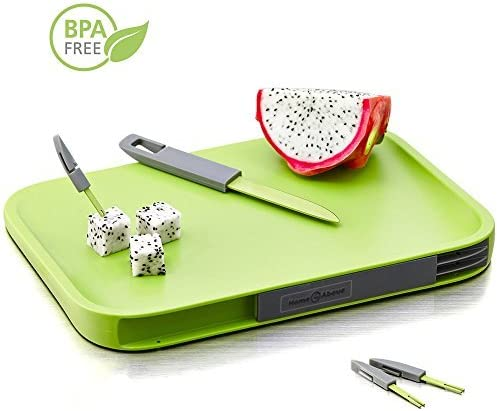 Amazon Com Home And Above Modern Non Slip Cutting Board With Hidden Compartments For Included Knife And Mini Fork Set Pba Free Chopping Board Green Kitchen Dining