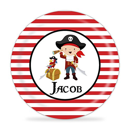 Pirate Plate - Red Boy Pirate Melamine Personalized Plate