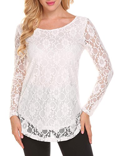 Lined Long Sleeve Blouse - Soteer Women's Winter Boho Long Sleeve Loose Fit Lace Peasant Tops Blouses Shirts White XL