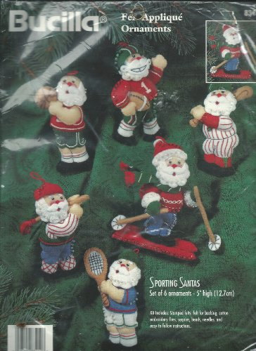 (Bucilla 1996 Sporting Santas Ornaments Jeweled Felt Applique Kit 5