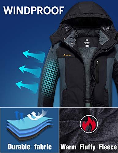 GEMYSE Homme Veste de Ski Imperméable de Montagne Manteau d'hiver Extérieur en Polaire Coupe-Vent avec Capuche