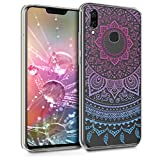 kwmobile TPU Silicone Case for Huawei Nova 3 - Crystal Clear Smartphone Back Case Protective Cover - Indian Sun Blue/Dark Pink/Transparent
