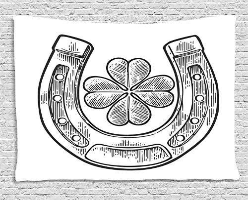 - Ambesonne Clover Tapestry, Good Luck Themed Illustration of Shamrock and Horseshoe Engraved Style, Wall Hanging for Bedroom Living Room Dorm, 60 W X 40 L Inches, Charcoal Grey and White