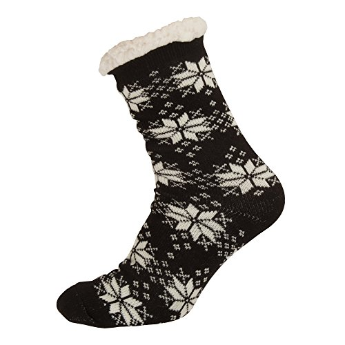 Aler Dames / Dames Thermisch Sneeuwvlok Ontwerp Co-zees Slippers (1 Paar) Zwart