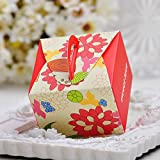 Moleya 50pcs Rustic Wedding DIY Party Favor Candy Boxes with Handle(Red, 3.543.542.36 inch)