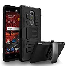 ZTE Grand X 4 Case, Zizo Heavy Duty Armor Dual Layer Protective Cover w/ Holster - Strong And Tuff Protection w/ Anti-Slip Grip - ZTE Blade Spark Z971