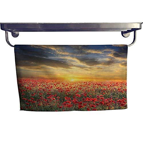 Beach Towel,Poppy Field Sunset Sky Evening View Golden Sun Lights Dark Clouds Graphic ,Super Soft & Absorbent Fade Resistant Cotton Terry Towel W 27.5