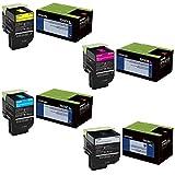 Lexmark 70C1XC0,70C1XK0,70C1XM0,70C1XY0 Extra High Yield Toner Cartridge Set