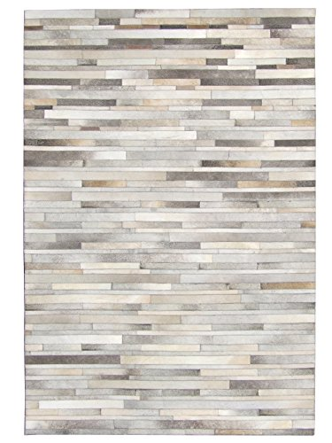 10' Grey Patch (Leather Hide Patchwork Area Rug Hand Made - Grey Stripes (8x10 Feet))