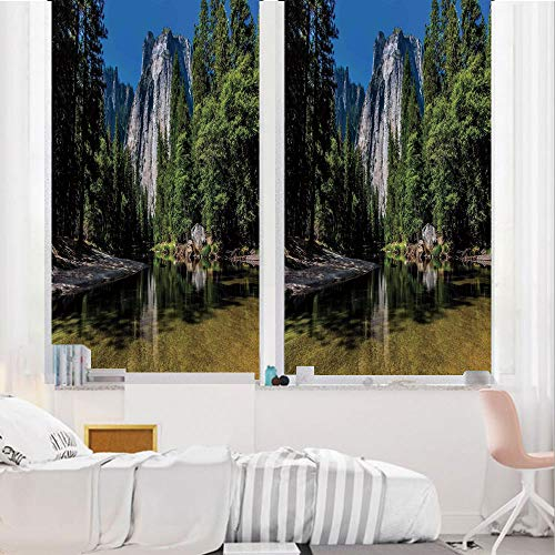 Yosemite 3D No Glue Static Decorative Privacy Window Films, Large Granite Cliff Surrounded by Trees River Under Clear Sky Wild Beauty Scenery,17.7