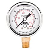 """Winters PFQ Series Stainless Steel 304 Dual Scale Liquid Filled Pressure Gauge with Brass Internals, 0-60 psi/kpa, 2"""" Dial Display, -2.5% Accuracy, 1/4"""" NPT Bottom Mount"""