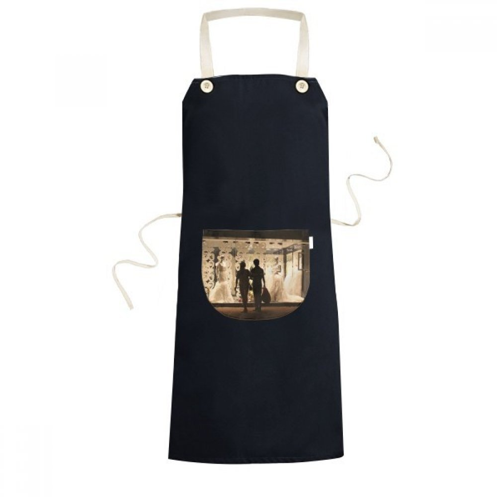 DIYthinker Lovers Wedding Night Scene Photography Apron Cooking Bib Black Kitchen Pocket Women Men