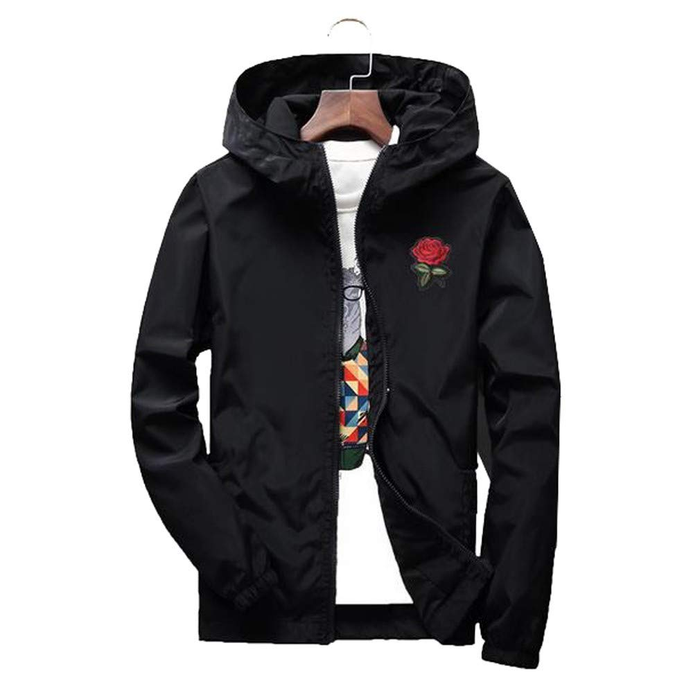 minRan ビッグメンズスリムフィット軽量ソフトシェルフライトボンバーローズジャケットフード付きパーカーコート B07JBWNQ7L ブラック XXL XXL|ブラック