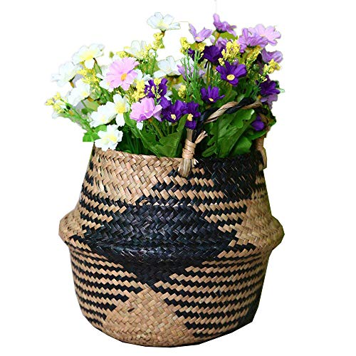 ABAO UNCLE Natural Seagrass Basket - BESTCHANCEUS Seagrass Belly Basket with Handles Handmade Foldable Tote Basket for Storage,Laundry, Picnic, Plant Pot Cover, and Beach Bag Block 32x28CM