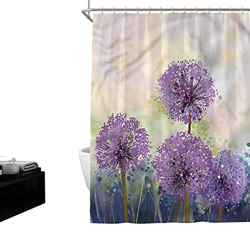 Jiahong Pan Purple,Modern Shower Curtain Ornamental Onion Flowers for Bathroom,Multicolor,W66 xL72