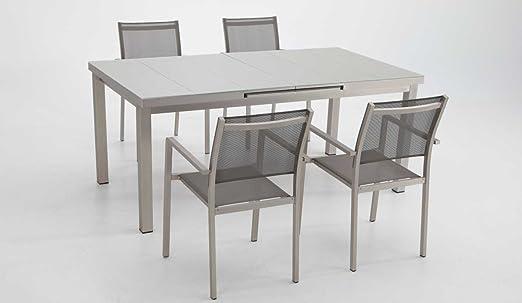Conjunto terraza y jardin aluminio anodizado mesa extensible 4 sillas: Amazon.es: Jardín