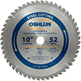 Oshlun SBF-100052 10-Inch 52 Tooth TCG Saw Blade with 1-Inch Arbor (5/8-Inch Bushing) for Mild Steel and Ferrous Metals
