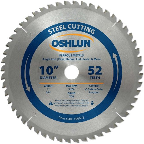 Oshlun SBF-100052 10-Inch 52 Tooth TCG Saw Blade with 1-Inch Arbor (5/8-Inch Bushing) for Mild Steel and Ferrous Metals ()