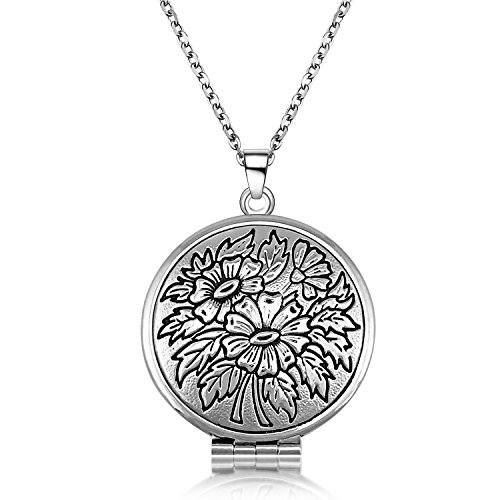 YOUFENG Flower Circle Locket Necklace that Holds Pictures Pendant Lockets Necklaces Women Jewelry Platinum Plated Circle Shaped Locket