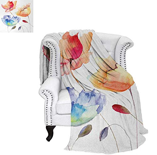 - Warm Microfiber All Season Blanket for Bed or Couch Summer Flowers in Retro Style Painting Effect Nature is Blessing Art Throw Blanket 70